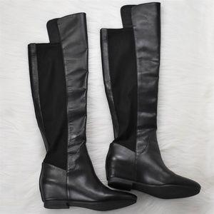 Nine West Black Leather Hidden Wedge Knee Boots 7M